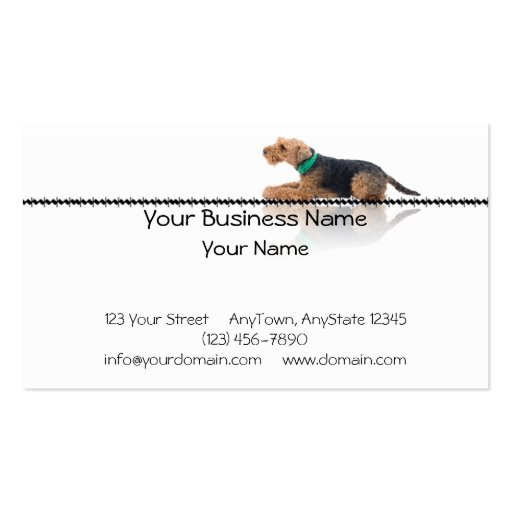 Brown and Black Welsh Terrier Laying on Zig Zag Business Cards