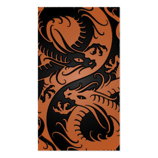 Brown and Black Yin Yang Chinese Dragons Business Cards