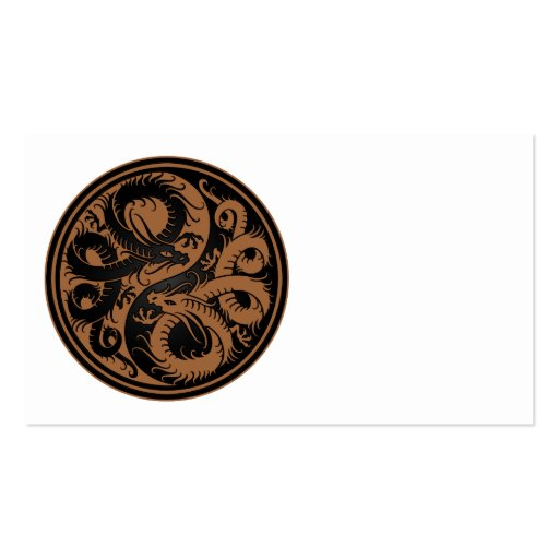 Brown and Black Yin Yang Chinese Dragons Business Card Templates