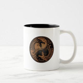 Brown and Black Yin Yang Dragons Coffee Mugs