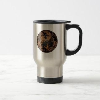 Brown and Black Yin Yang Dragons Coffee Mug