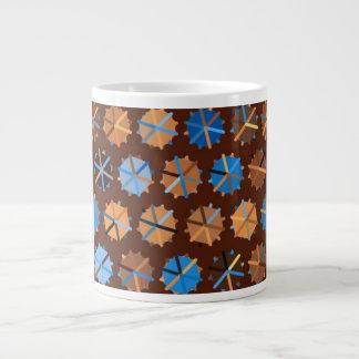 Brown and Blue Abstract Giant Coffee Mug