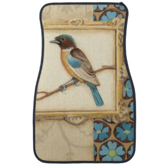 Brown and Blue Bird on a Branch Looking Up Car Mat