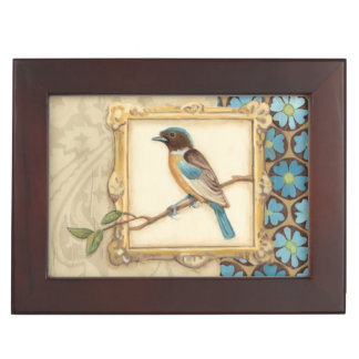 Brown and Blue Bird on a Branch Looking Up Keepsake Box