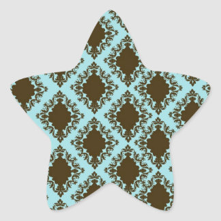 brown and blue diamond lovely damask pattern star sticker