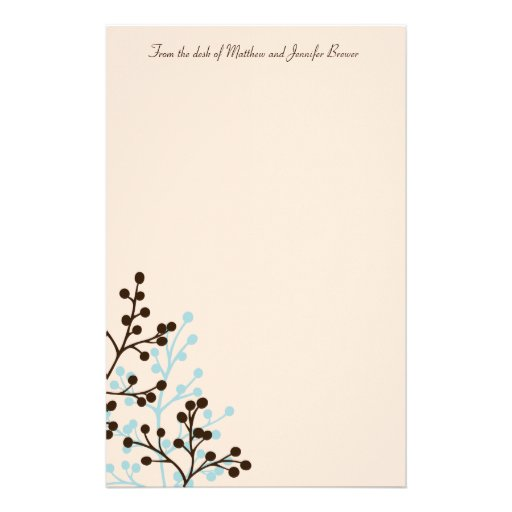 Brown and Blue Floral Custom Stationary Stationery