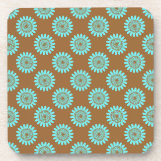 Brown And Blue Floral Pattern Coasters