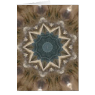 Brown and blue-green kaleidoscope greeting card