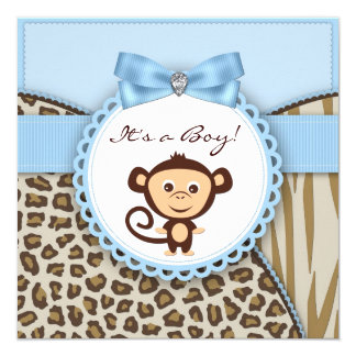 "Brown and Blue Monkey Baby Shower 5.25"" Square Invitation Card"