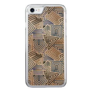 Brown and Blue Mosaic Carved iPhone 8/7 Case