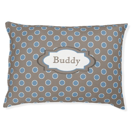 Brown and Blue Polka Dots Personalised Pet Bed
