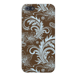 Brown And Blue Retro Flower Large Pattern iPhone 5 Cases