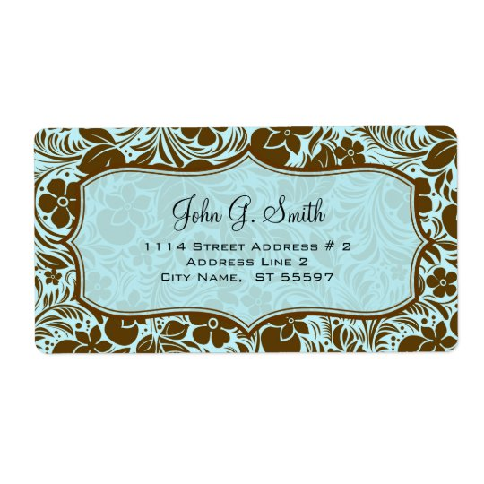 Brown And Blue Retro Flowers And Leafs Pattern Shipping Label