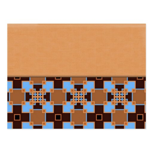 Brown and Blue Squares Post Card