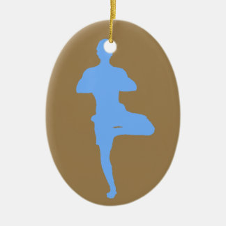 Brown and Blue Yoga Tree Pose Christmas Ornament