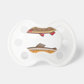 Brown and brook trout baby pacifiers