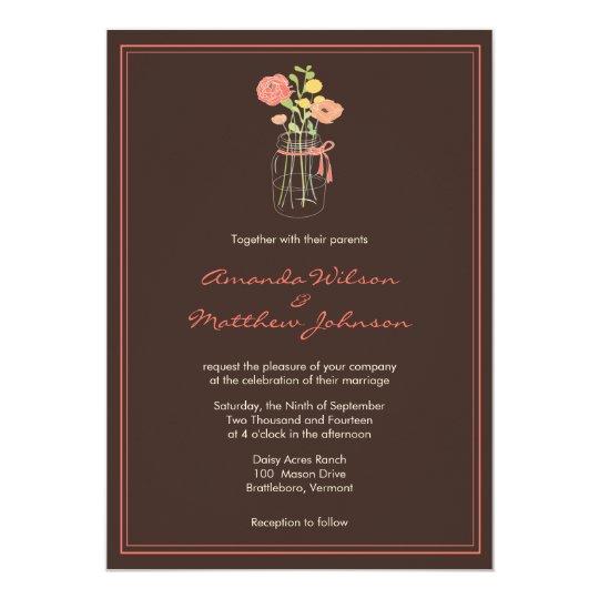 Brown and Coral Mason Jar Wedding Invitations