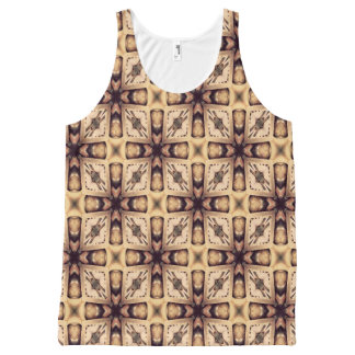 Brown And Cream Abstract Pattern All-Over Print Tank Top