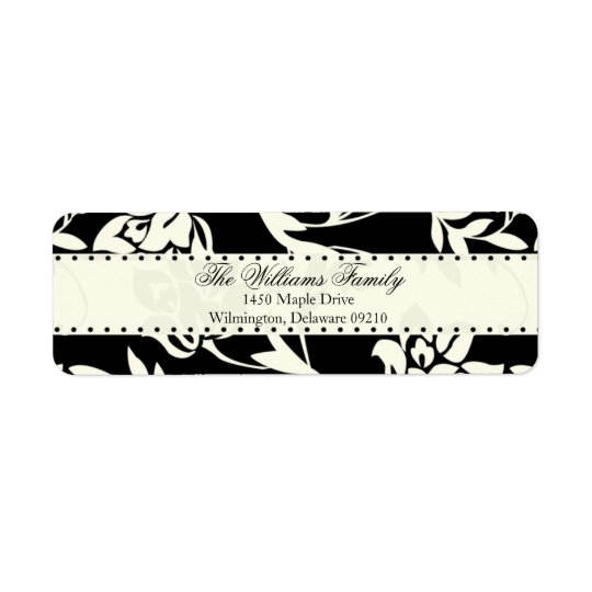 Brown and Cream Damask Personalised Return Address