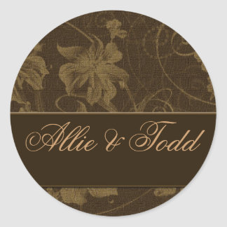 Brown and cream damask wedding stickers