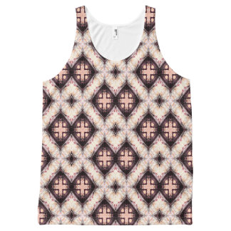 Brown And Cream Rhombuses Vintage Pattern All-Over Print Tank Top