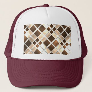 Brown And Cream Stained Glass Trucker Hat