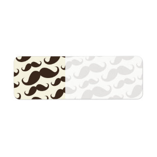 Brown and cream trendy funny mustache pattern return address label