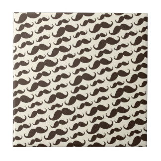 Brown and cream trendy funny mustache pattern small square tile