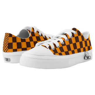 Brown And Gold Checks Pattern, Low Tops