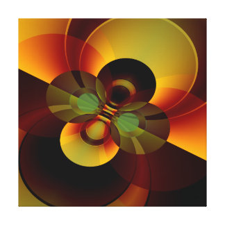 Brown and Gold Circles Geometric Abstract Canvas Print