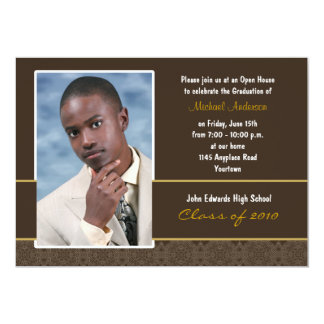 Brown and Gold Damask Graduation Party Invitation