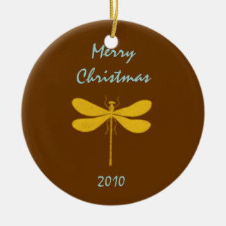 Brown and Gold Dragonfly Christmas Ornament
