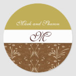 Brown and Gold Floral Accented Round Sticker