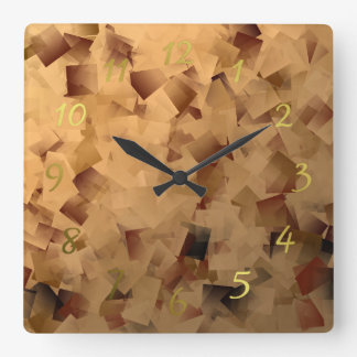 brown and gold little festive pattern square wall clock
