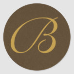 brown and gold Monogrammed Personal Seals Stickers