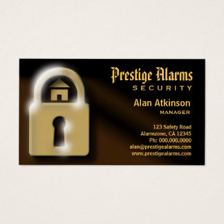 Brown and Gold Pad Lock Security Business Cards