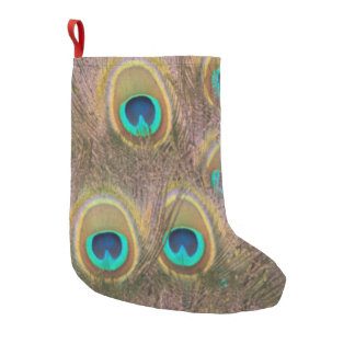 Brown and Gold Peacock Small Christmas Stocking