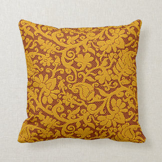Brown And Gold Rich Indian Brocade Pattern Cushion