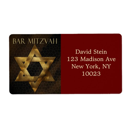 Brown and Gold Star of David address labels
