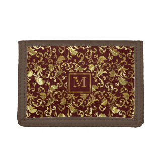 Brown And Gold Traditional Vintage Floral Damasks Trifold Wallet