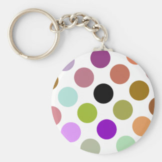 Brown And Green Colorful Dots Basic Round Button Key Ring