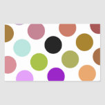 Brown And Green Colourful Dots Rectangular Sticker