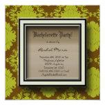 Brown and Green Damask Bachelorette Party Invitati 5.25x5.25 Square Paper Invitation Card