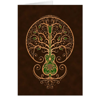 Brown and Green Guitar Tree of Life Greeting Cards