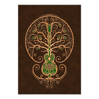 Brown and Green Guitar Tree of Life Personalized Invitations