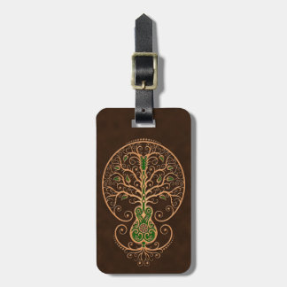 Brown and Green Guitar Tree of Life Luggage Tag