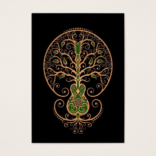 Brown and Green Guitar Tree of Life on Black Business Card
