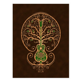 Brown and Green Guitar Tree of Life Post Cards