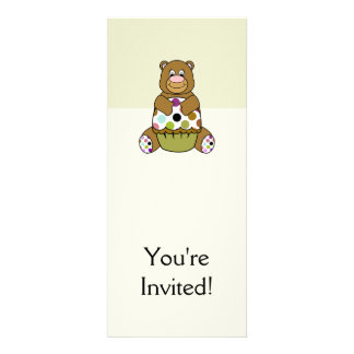 Brown And Green Polkadot Bear Personalized Invites
