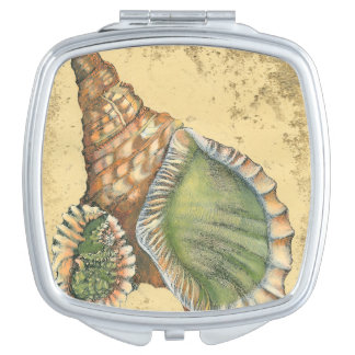 Brown and Green Seashell Compact Mirror
